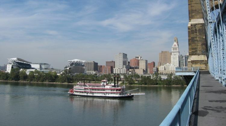 The Cincinnati skyline and the Ohio River from the Kentucky end of the John A. Roebling Suspension Bridge.