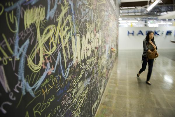 #7: Write on the walls:  Facebook wants its employees to write on the walls. The walls at Facebook are always changing, with a group of onsite artists are in charge of keeping things fresh. Employees are encouraged to change their surroundings too, by writing messages to one another on massive chalkboard walls.
