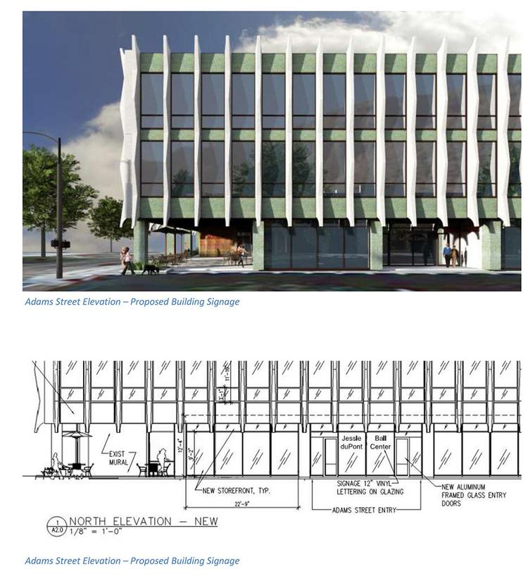 A conceptual rendering of the Adams Street side of the Jesie Ball duPont Center's nonprofit office complex in the Old Library.