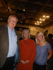 From left, Mike Hallman, chairman of the Museum of Flight, Pam Ayer and daughter Elizabeth Ayer.