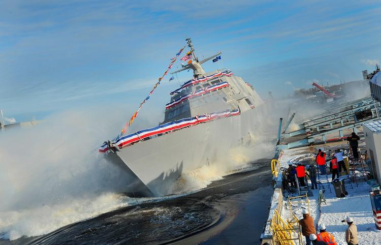 The USS Milwaukee was christened and launched at the Marinette Marine shipyards Wednesday.