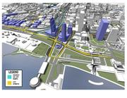 Rendering of the lakefront redevelopment, including a redesigned interchange See related: Milwaukee, state agree to move Lake Interchange ramps