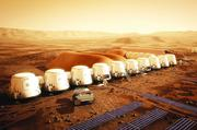 An artist's concept of a future Mars colony.