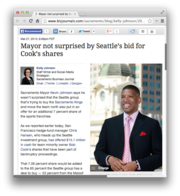 11. Mayor not surprised by Seattle's bid for Cook's shares