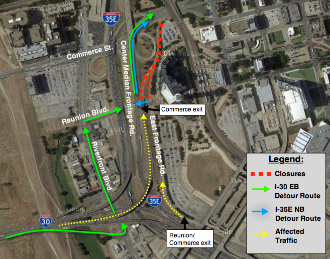 A map showing the closures and detours for the Horseshoe project that will be in effect from Dec. 20 to March 31.