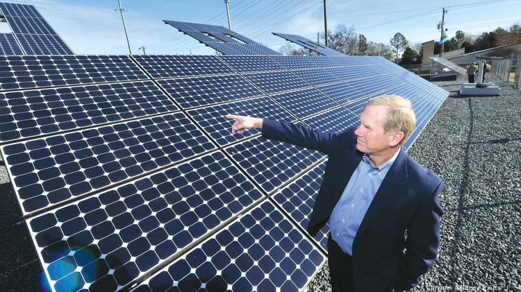 Rob Caldwell, Duke VP of Wholesale Power & Renewable Generation, at the company's McAlpine Substation solar array off N.C. Highway 51 in Pineville.