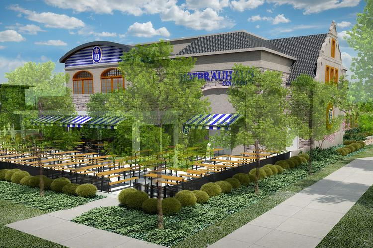 Grandview Yard's Hofbrauhaus is expected to open next fall, offering seating for 910 inside and on an outdoor beer garden.