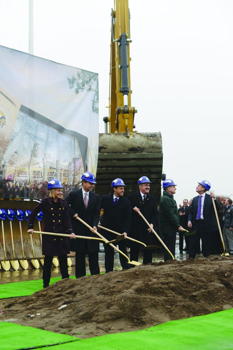 Vikings owner Zygi Wilf, third from the right, at the groundbreaking of the new stadium.
