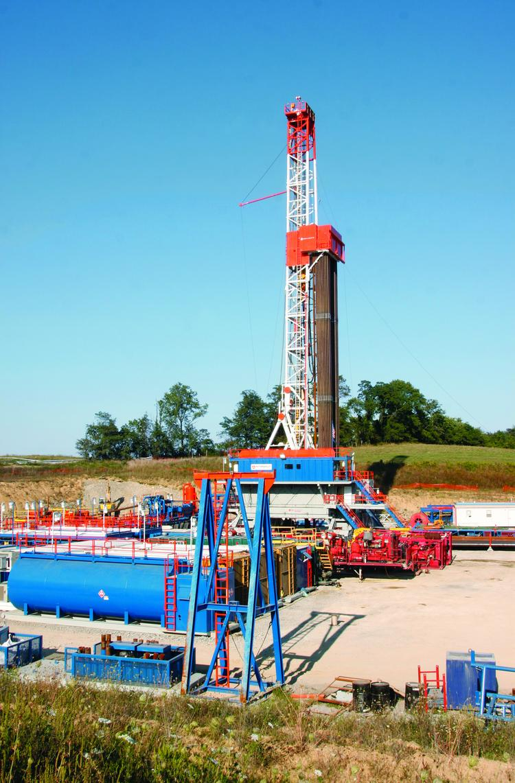 The Range Resources-Appalachia LLC Marcellus shale multi-well drilling site in Chartiers Township, Washington County.