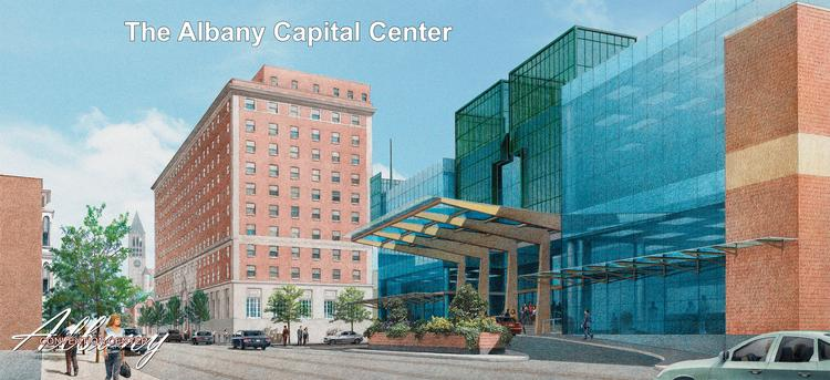 A rendering of the $66.5 million convention center planned for downtown Albany, NY.