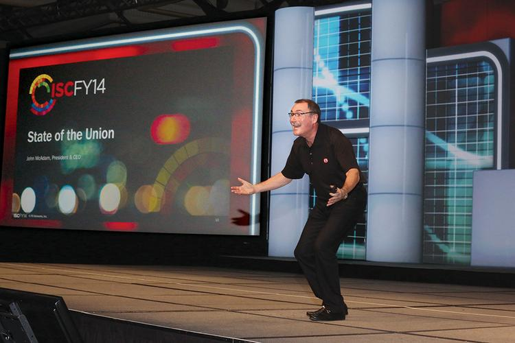 F5 CEO John McAdam speaks to more than 1,400 employees at the company's international sales conference in November in Laguna Niguel, Calif.