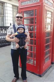 John McAdam and his newest grandson, Finley, in London, where Finley and the rest of the McAdam clan reside.