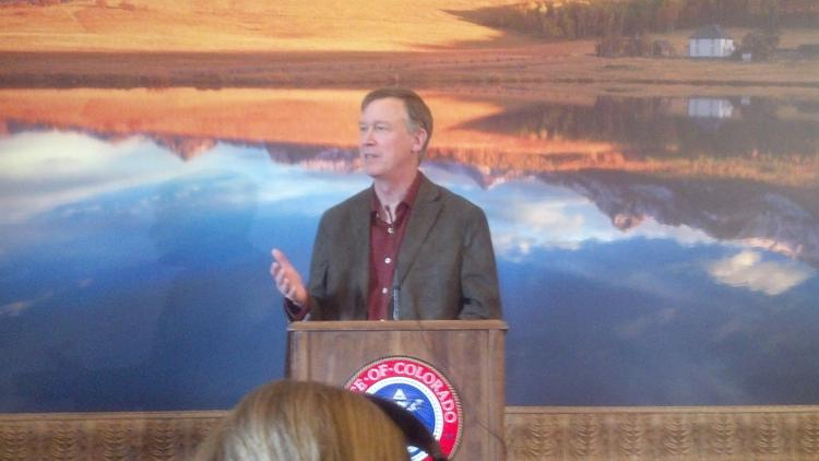 Gov. John Hickenlooper speaks Thursday at a press briefing where he confirmed that Colorado has contacted Boeing about attempting to become the home for its new 777X manufacturing plant.