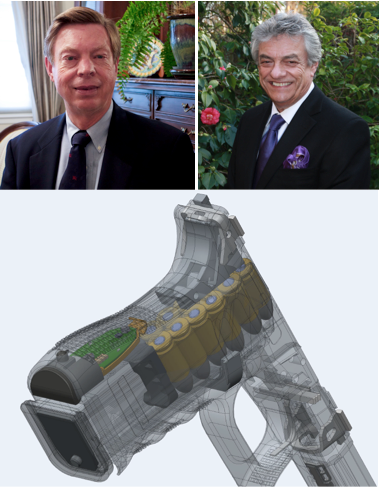 Yardarm Technologies CEO Robert Stewart (top left), Yardarm President Joaquin Menezes and a mock up of the Capitola startup's green sensor used to wirelessly connect gun owners with their firearms.