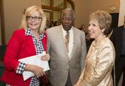 Major League Baseball legend Hank Aaron with Lynn Sprangers, vice president for communications and community engagement at Mount Mary University (left), and Eileen Schwalbach, president of Mount Mary. The group was at Mount Mary University's centennial celebration.