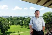 Steve Gondol, executive director of Live Baltimore, atop the pagoda at Patterson Park.