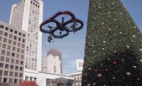 Ho, ho, the mistletoe drone, hovering where you can see.