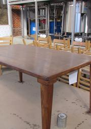 The tables in the tasting room are a piece of Dayton's history. The company bought nine tables and 45 chairs from Mendelson's Liquidation Outlet. The tables came from Patterson High School, which was once located at 118 E. 1st St. in downtown Dayton.