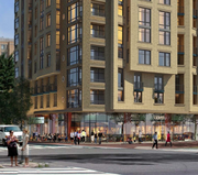 A rendering of the ground floor retail proposed for Akridge/Jefferson Apartment Group project at Fifth and Eye streets NW.