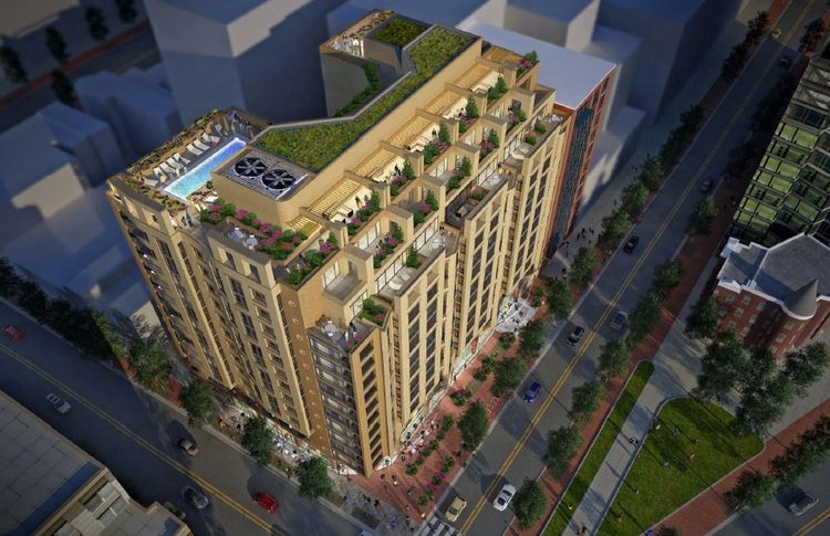 Akridge, with the Jefferson Apartment Group, has proposed a 13-story, 208 unit multifamily building for a D.C.-owned parcel at Fifth and Eye streets NW.