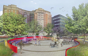 CSG's vision for Seaton Park, near its proposed office building at Fifth and Eye streets NW.