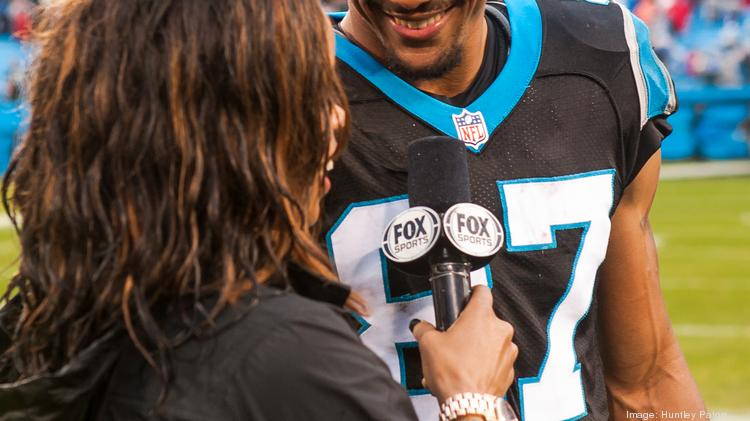 Carolina Panthers wide receiver Domenik Hixon, who caught the winning touchdown pass, is interviewed after the game by Fox News' Pam Oliver. The Panthers beat the New Orleans Saints 17-13 in a down-to-the-wire battle on Dec. 22, 2013 at Bank of America Stadium in Charlotte.