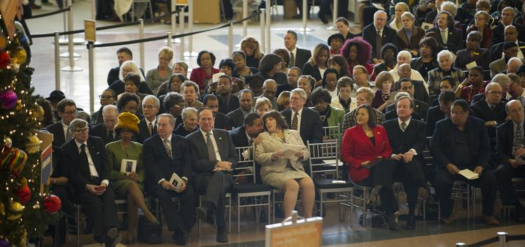 The ceremony took place in the rotunda at the Cincinnati Museum Center at Union Terminal.
