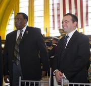 Council Member Wendell Young, left, and Mayor John Cranley were in attendance.