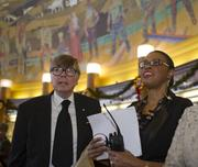 Ohio House Speaker William Batchelder gathered with former City Councilwoman Pam Thomas,  who is god-daughter of William Mallory Sr.  Thomas helped coordinate the Celebration of Life.