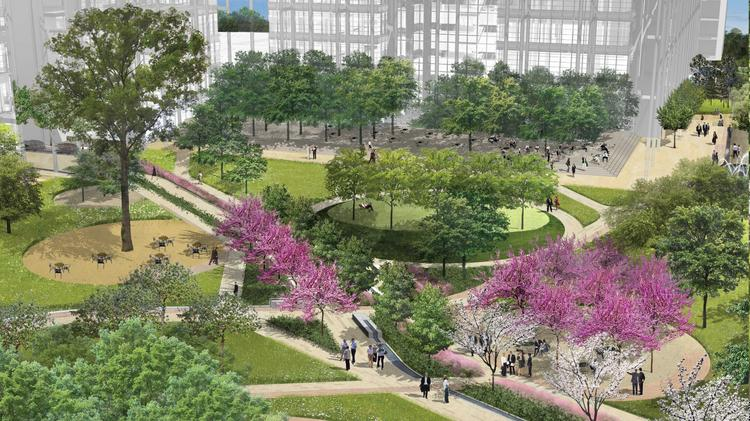 Exxon Mobil's 385-acre campus in north Houston was designed around a central 3-acre commons area modeled after public squares found in Europe and the U.S. Flowing from the square will be outdoor walkways and smaller courtyards.