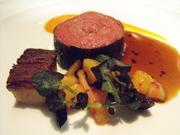Waygu beef roulade with potato and pickled carrots in December at The Kitchen.