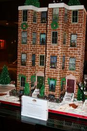 A Back Bay brownstone made of gingerbread at the Mandarin Oriental on Boylston Street  in the Back Bay.