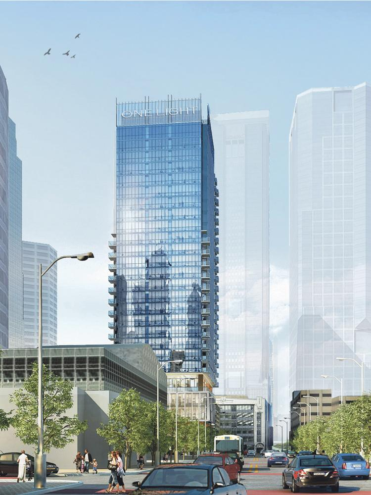 This is an artist's rendering of the 25-story One Light.