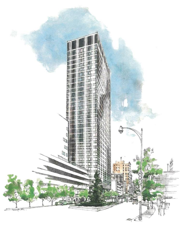 This rendering of Commerce Tower comes from a 1965 leasing brochure.