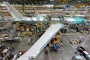 A 777 jetliner takes final shape on the assembly line at Boeing's Everett plant.