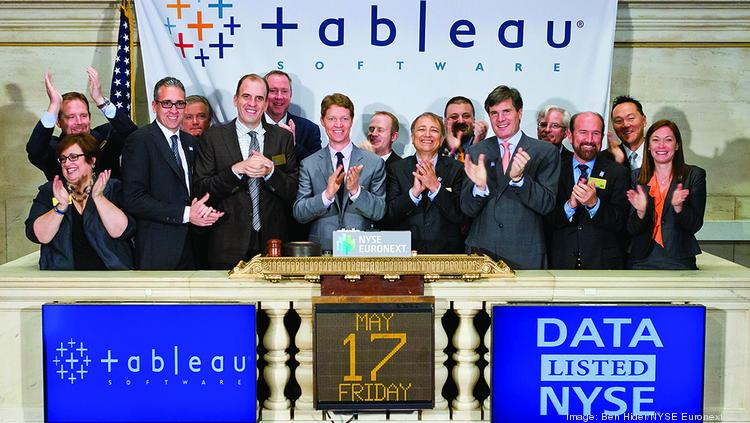 Tableau CEO and co-founder Christian Chabot celebrates the company's initial public stock offering and rings the opening bell at the New York Stock Exchange on May 17, 2013.