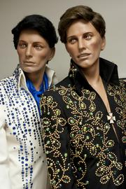 Two styles of Elvis costumes made by B&K Industries Costume Co. are shown here.