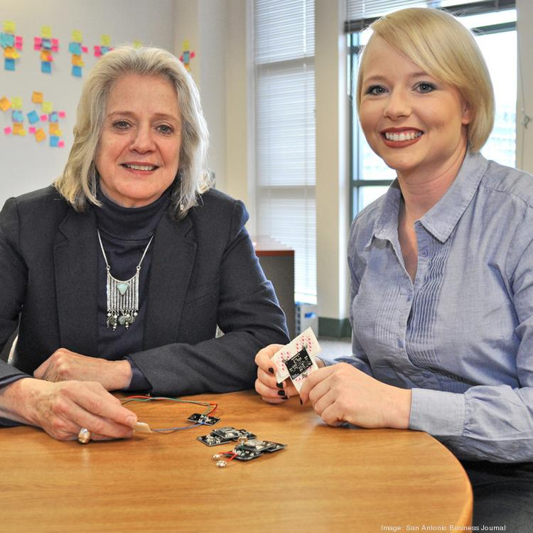 (L to R) Anita Leffel, assistant director at CITE, and UTSA student Somer Baburek, look over a prototype of a wireless labor-monitoring device that took first prize in a recent student technology venture competition.