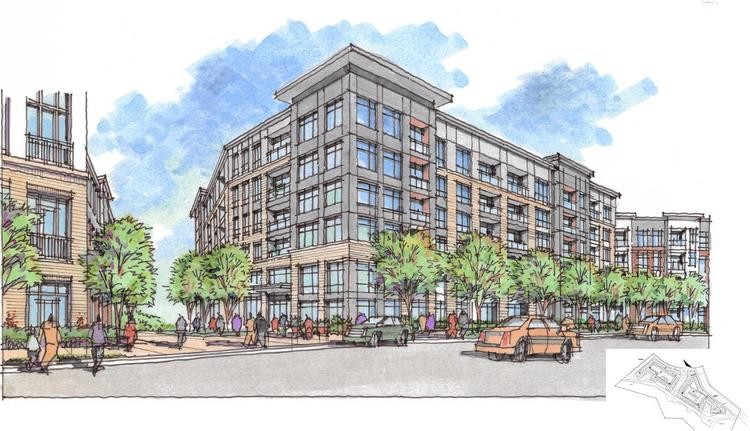 Dallas-based JLB Partners is proposing to build 450 to 500 apartments on a site roughly a half-mile from the planned Innovation Center station on Metro's Silver Line.