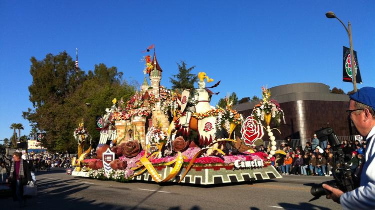 A float rolling down the street in a previous Tournament of Roses parade.