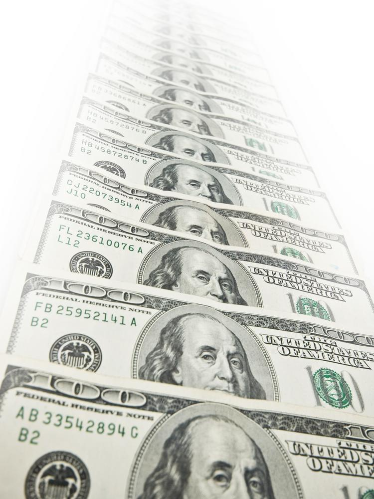 American dollars dissappearing in the perspective view