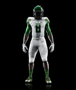 Last week Nike unveiled new uniforms the Oregon Ducks will wear in the Alamo Bowl on Dec. 30. The company makes the entire uniform, including undergarments. The Nike swoosh is visible on the jersey, pants, gloves, socks, shoes and helmet.