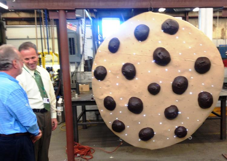 The giant cookie is ready to leave the South Shore Vocational Technical High School, in this picture taken earlier this year.