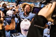 The North Carolina Tar Heels are exuberant after a convincing bowl win. The Tar Heels beat the Cincinnati Bearcats 39-17 in the 2013 Belk Bowl, played Dec. 28, 2013 at Bank of America Stadium in Charlotte.