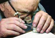"With steady hands like a surgeon, Simon Allalunis, 96, repairs a watch in his Brentwood repair shop, Iron City Clock Hospital. He has been perfecting his craft for over 75 years. See more of Joe Wojcik's photo essay of ""All in a day's work""  here."