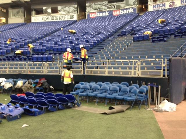 Albrecht Signs began removing Metrodome seats on Monday, the day after the final Minnesota Vikings game was played there.