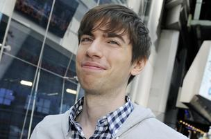 David Karp, founder and chief executive officer of Tumblr Inc., exits the Nasdaq Stock Market in New York, U.S., on Tuesday, May 21 2013.