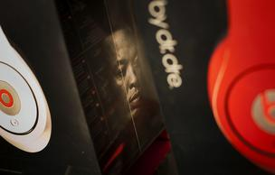 A photograph of Dr. Dre is printed on a headphones box at the Beats by Dr. Dre pop-up store in New York.
