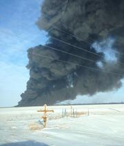 A freight train carrying crude oil derailed and caught fire in North Dakota Monday.