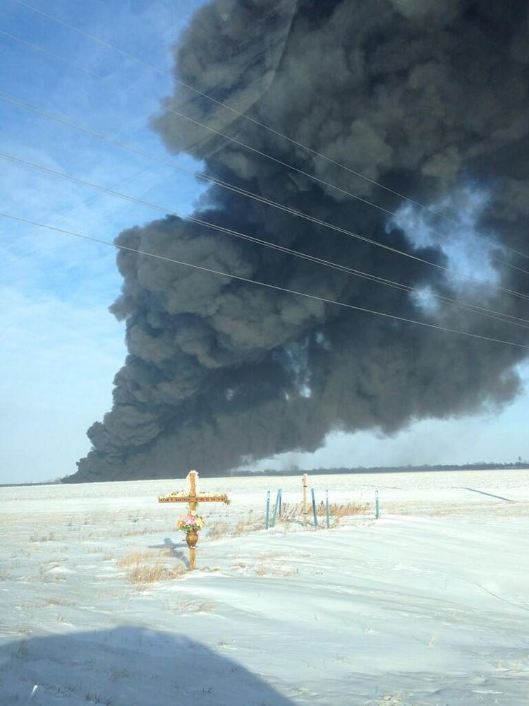 A freight train carrying crude oil derailed and caught fire in North Dakota in December